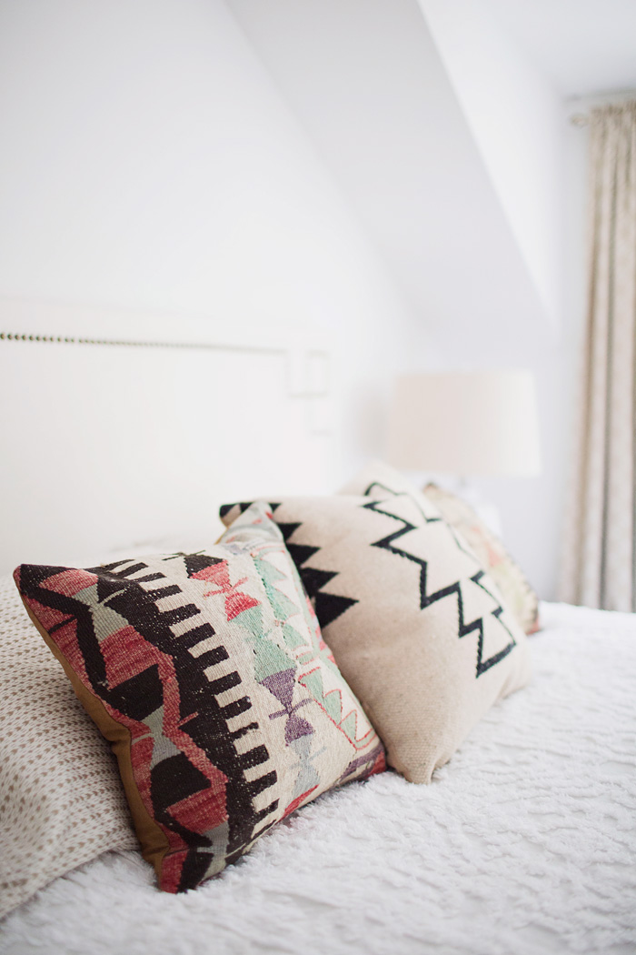 Colorful Bohemian Throw Pillows White