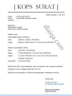 Surat Rekomendasi Pembuatan Paspor