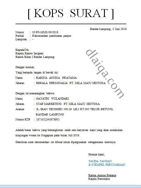 contoh surat rekomendasi pembuatan paspor