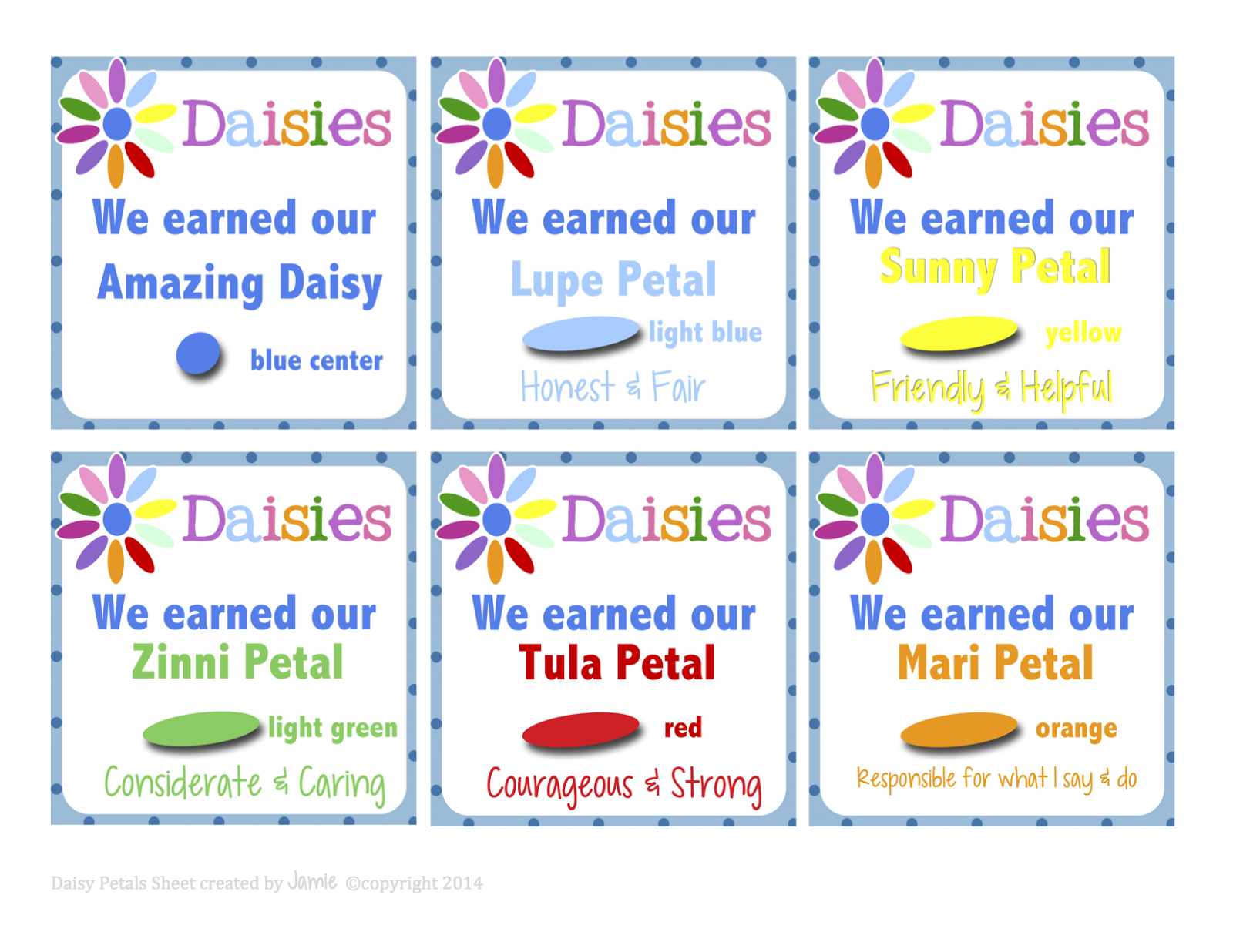 My Fashionable Designs Girl Scouts Daisy Petal Cards Free Printable