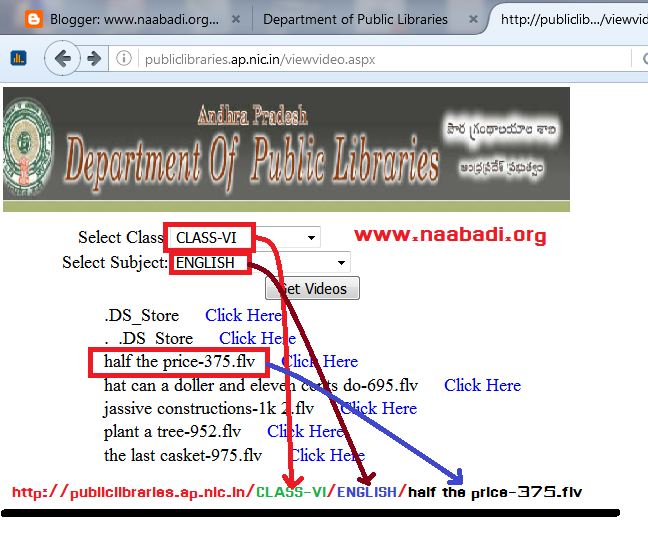 How to download Flash Videos from http://publiclibraries.ap.nic.in(www.naabadi.org)