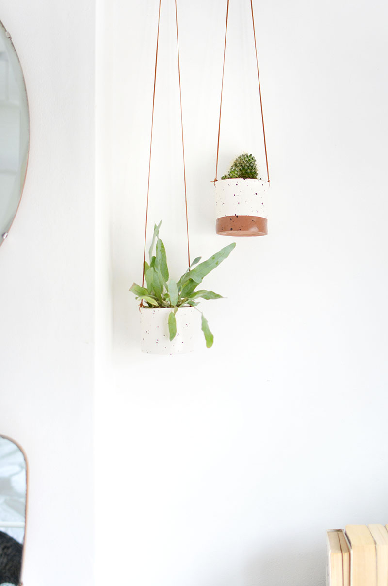 simple tutorial for making hanging planters using air dry clay!