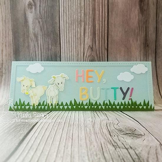 Hey, Butty! Goat card by Naki Rager | Bleat Stamp Set, Land Borders Die Set, Essential Alphabet Die Set and Slimline Frames & Windows Die Set by Newton's Nook Designs #newtonsnook