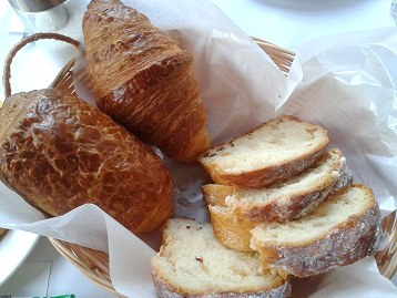 Bread basket: croissants and white chocolate bread