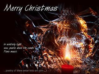 Christmas card with candle light and haiku poem