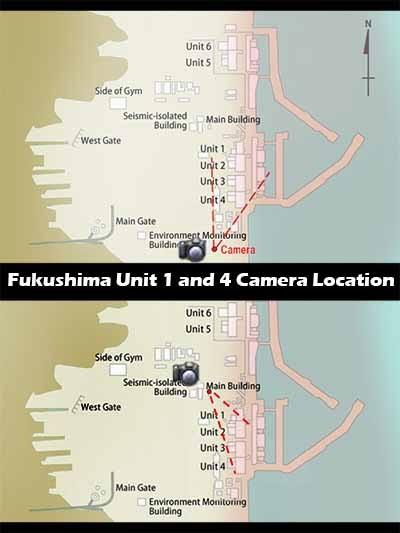 Fukushima NPP Unit 1 and 4 Livecam Locations