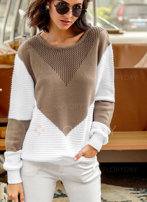 Round Neckline Color Block Loose Sweaters