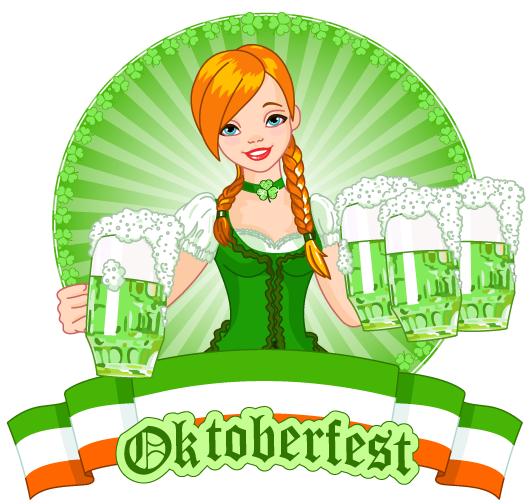 Camarera rubia del Oktoberfest verde y dorado