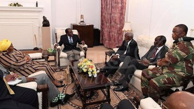 President Robert Mugabe meets an army chief and South African envoys