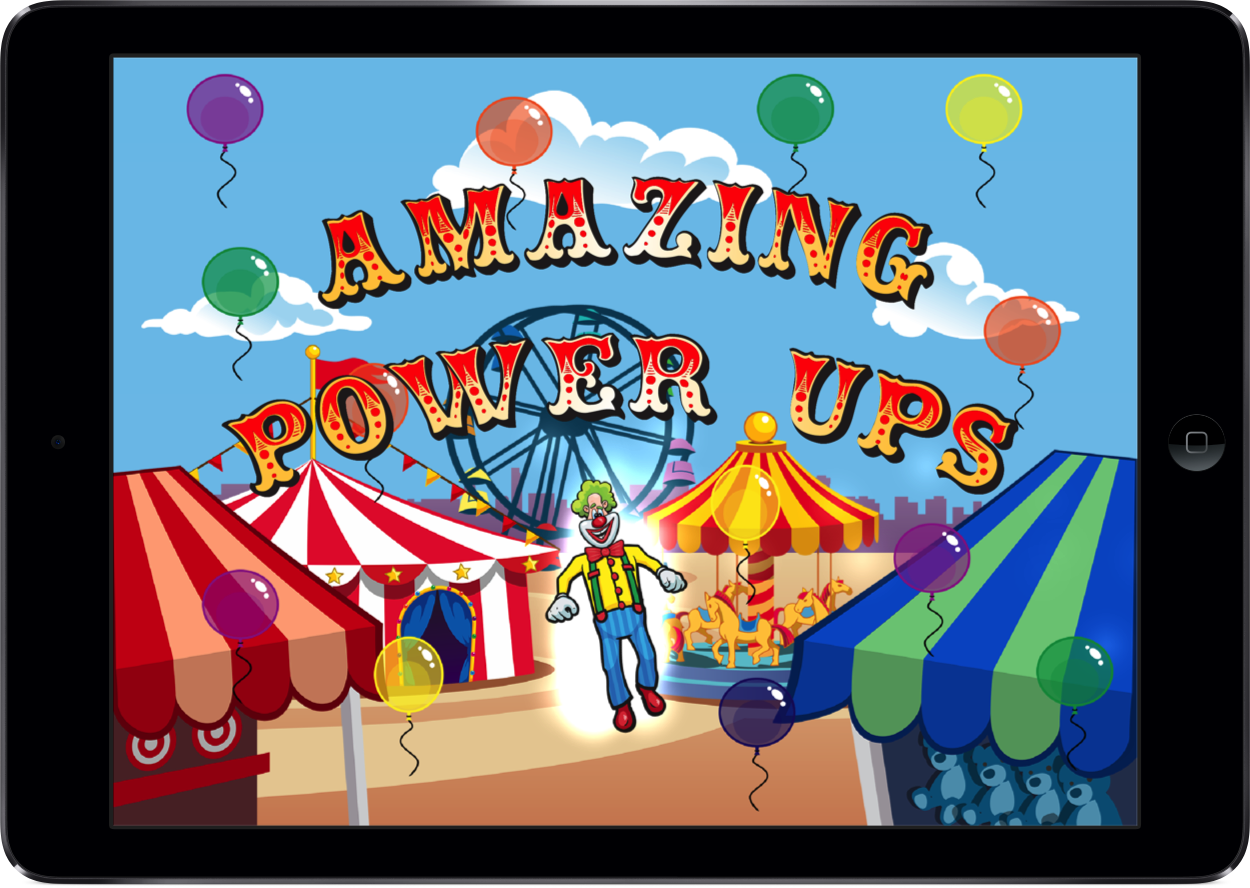 "Screenshot of the Laugh Clown game titled ""Amazing Power Ups) on a iPad Air."