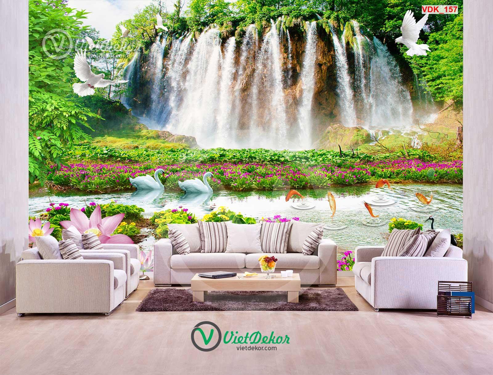 Tranh dán tường 3d thác nước hoa sen