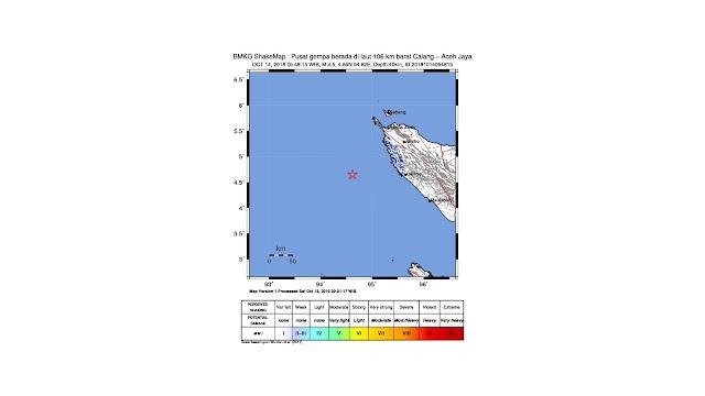 Gempa Magnitudo 4,5 Guncang Aceh Jaya