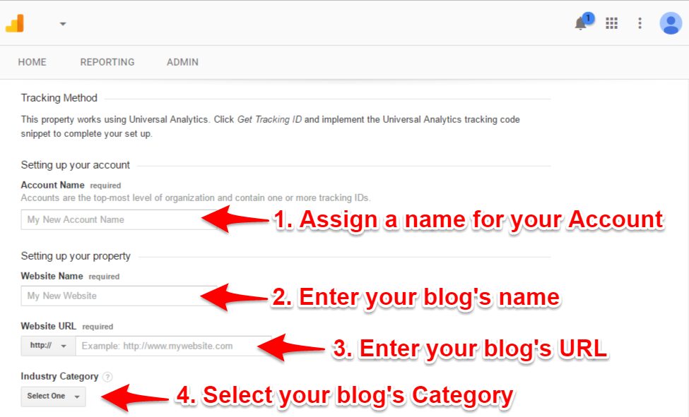 Google Analytics Fill up your blogger details