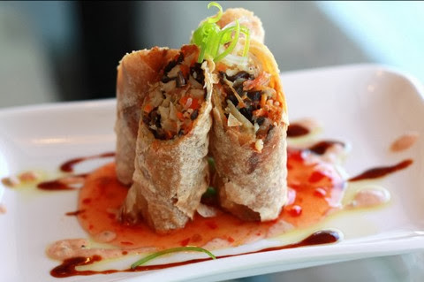 Vegan Spring Rolls with Sesame and Chili Sauce
