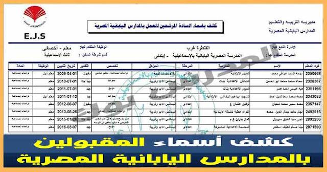 اسماء المعلمين المقبولين بوظائف المدارس اليابانية في مصر2017