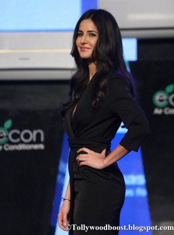 British Actress Katrina Kaif Long Hair In Mini Black Top