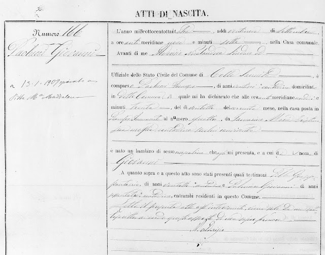 Giovanni Paolucci's 1883 birth record shows his mother was an Iamarino.