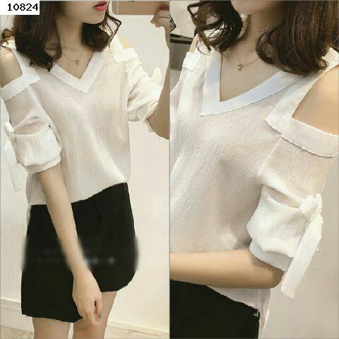 Jual Blouse White Ribbon Blouse - 12824