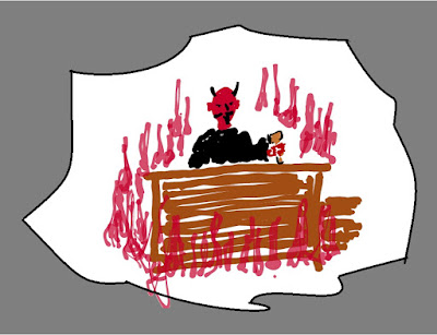cartoon devil in judge's robe sitting among flames
