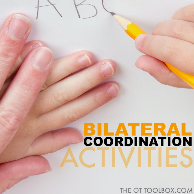 Use these bilateral coordination activities to promote bilateral integration needed for skills like writing and holding the paper and any activity that uses one hand to manipulate an object while stabilizing with the other hand.