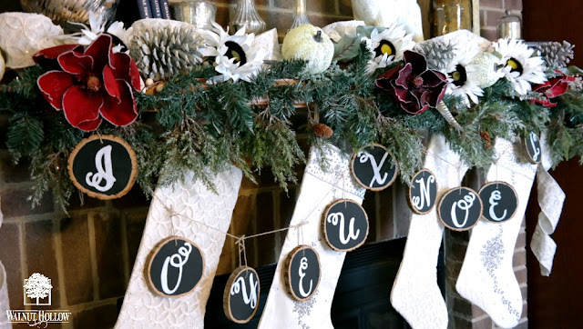 DIY Chalkboard Wood Slice Christmas Garland by Dana Tatar for Walnut Hollow