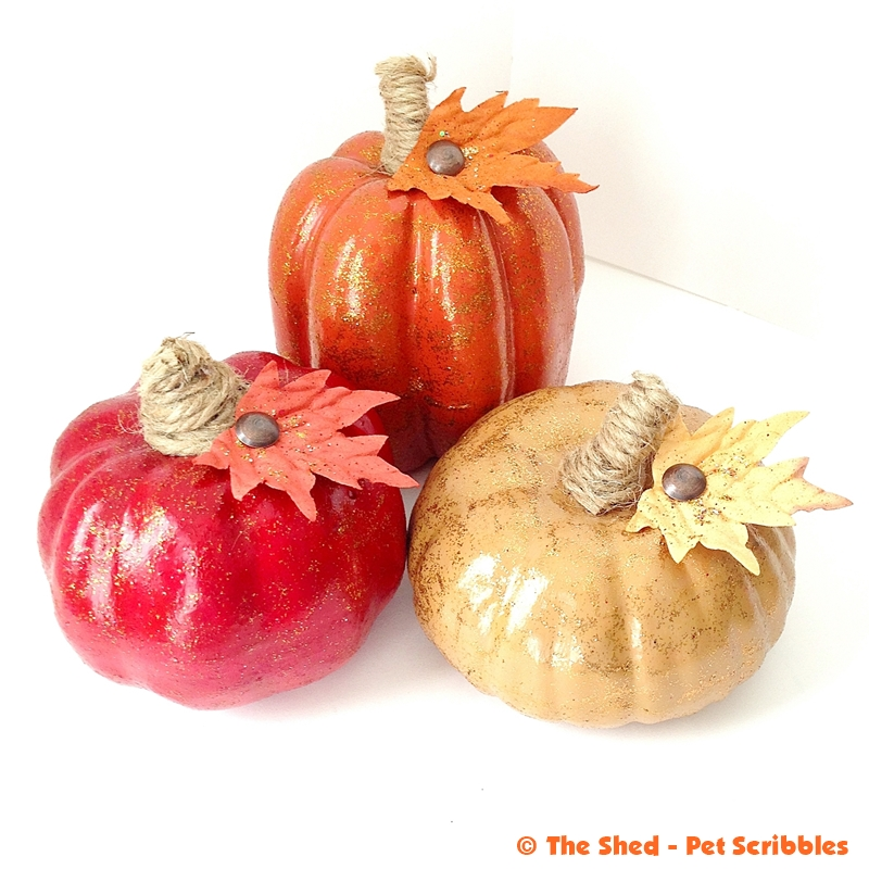 Tone-on-Tone Glitter Paint Pumpkins (no falling off glitter!)