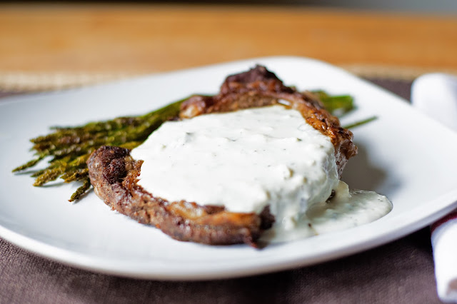 Rib eyes with Gorgonzola Cheese Sauce