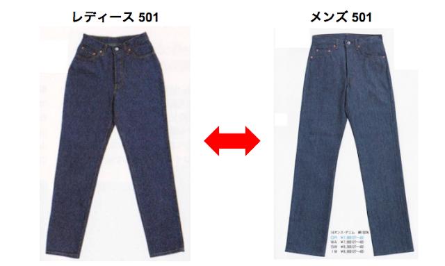 1989年春夏モデル 501 レディースとメンズの比較