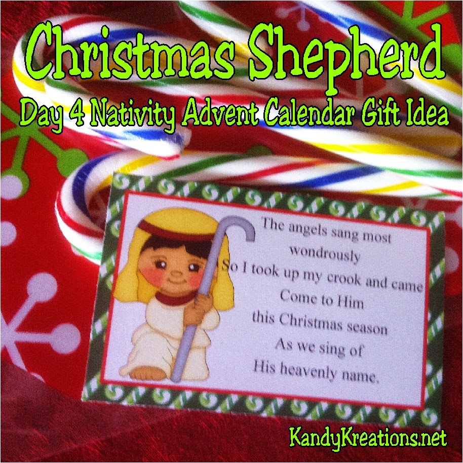 Celebrate Christ this season with the Christmas Shepherd as the whole nativity counts down the twelve days of a Christ centered Christmas.  This is a perfect neighbor gift idea with day four having the first of the Christmas shepherds bring his crook and candy canes. #christmas #advent #countdown #shepherd #neighborgift #diypartymomblog