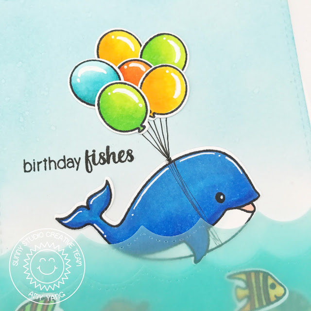 Sunny Studio Stamps: Oceans Of Joy Sea Creature Birthday Fishes Card by Amy Yang