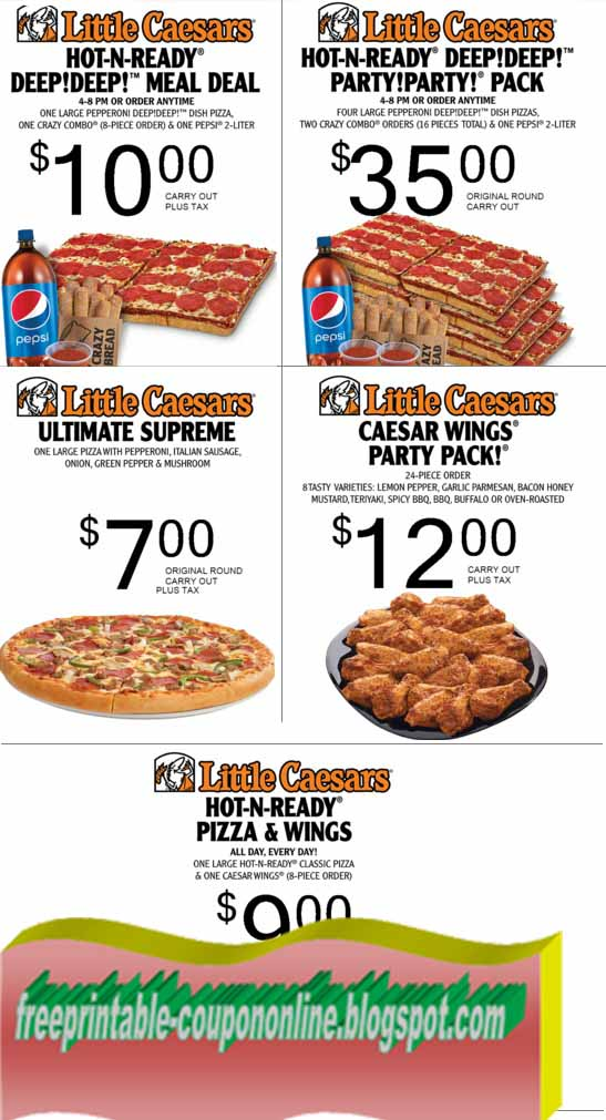 Jan 30,  · $ Coupon For Little Caesars Crazy Combo Print coupon and get 8 pieces of crazy bread and crazy sauce for $ with the purchase of a pizza, valid at all Little Caesars pizza restaurants. Little Caesars Coupon – Rib Smackers Print coupon and receive a 6-piece rib smackers order for $5, valid at participating Little Caesars locations/5(7).