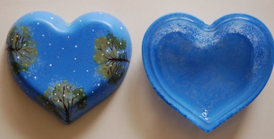 glass jewelry box, painted blue, with trees