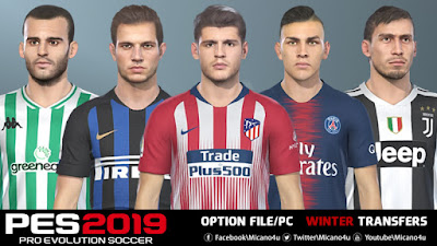 PES 2019 Option File Winter Transfers 2018/2019