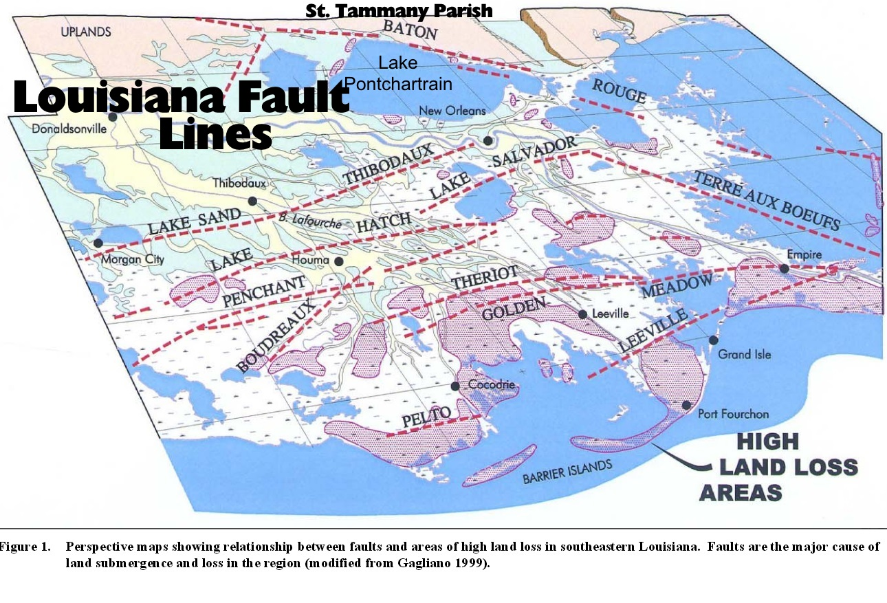 the image above shows how the baton rouge earthquake fault line extends eastward along the lake pontchartrain shoreline in st tammany parish