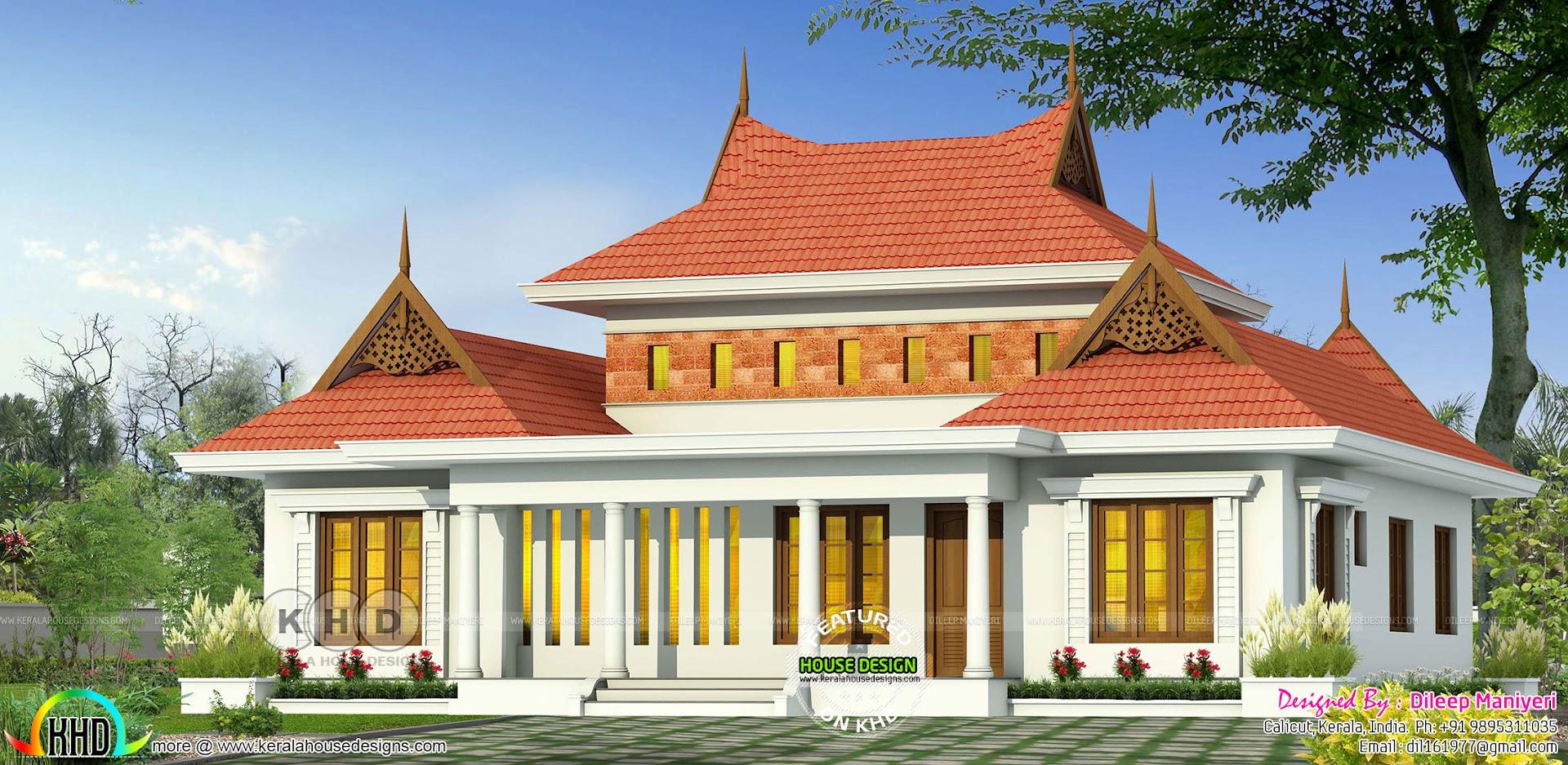 Traditional 4 Bhk Sloping Roof Kerala Home Design Kerala