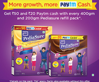Paytm Pediasure - Get Rs.50 or Rs.20 Paytm Cash