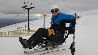Photo of me in the Biski Dynamique, at the top of the slope