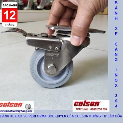 Bánh xe cao su có khóa càng inox 304 Colson 3inch | 2-3356SS-444-BRK4 www.banhxedayhang.net