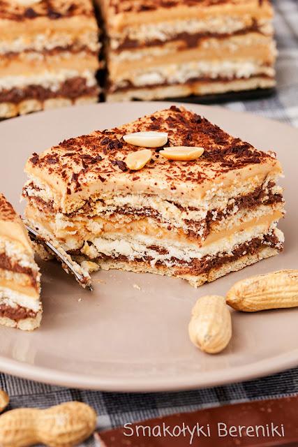 Ciasto z kremem czekoladowym i orzechowym