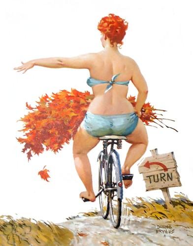 hilda la Gordita pin up en bicicleta con ramo de flores