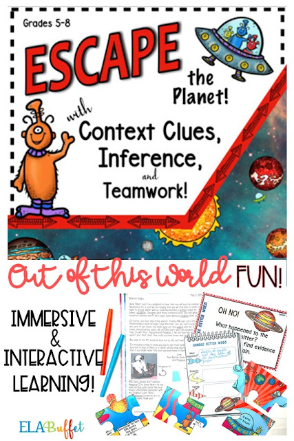 Your students are visiting relatives on the planet Nonsensica, but they can't get home, because their only intergalactic map has been torn to shreds! Will they #ESCAPE? #teambuilding #closereading #contextclues #middleschool #breakout #classroomescaperoom #FunELAActivity #teachcontextclues #vocabulary #vocabularylessons #teacher #middleschoollesson #middleschoolelalesson