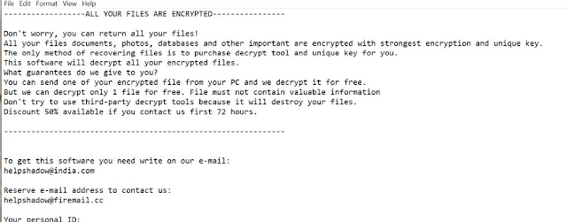 Helpshadow@india.com Shadow (Ransomware)