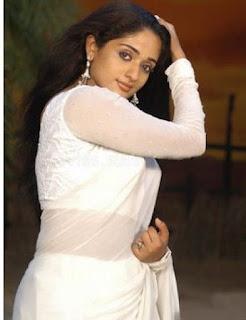Kavya madhavan in white saree blouse