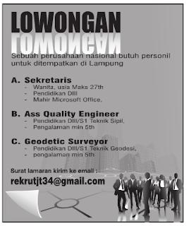 Lowongan Kerja SEKRETARIS, SURVEYOR dan ENGINEER