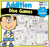 Addition Games using Dice with Facts 1 to 6