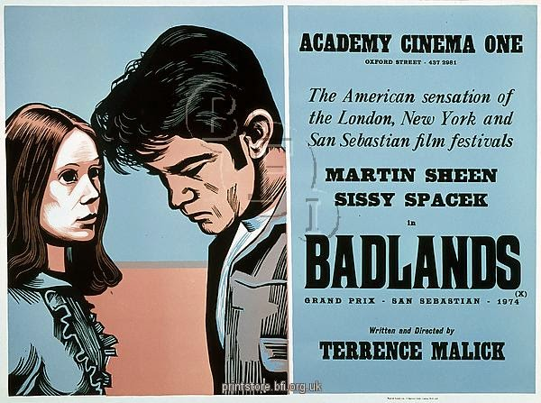 Drawing of a young man and woman and details of film Badlands