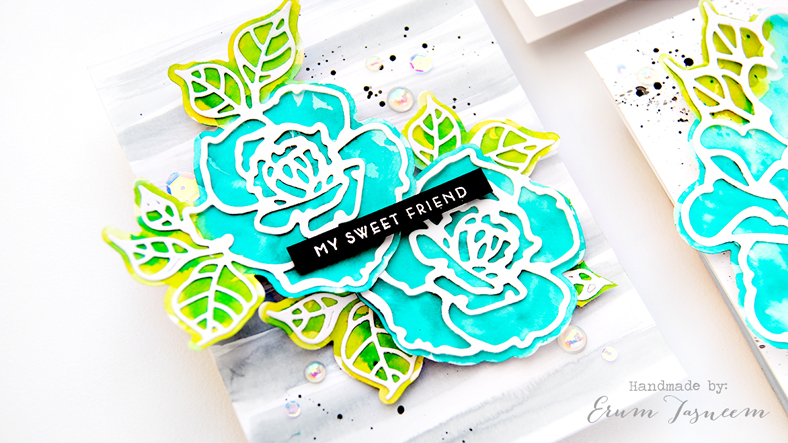 Spellbinders Good Vibes Only by Stephanie Low | Rosy Summer Flowers Etched Dies | Watercolor Cards by Erum Tasneem | @pr0digy0