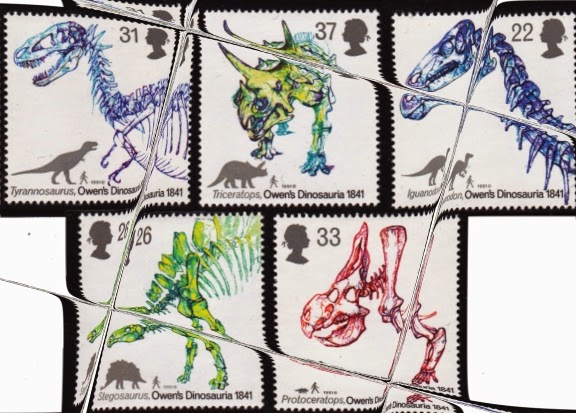 UK dinosaur stamps, scanned and distorted by Cowboy Bob Sorensen