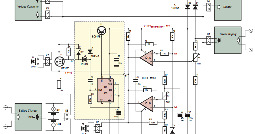 Electronic Router UPS Circuit Diagram - 12 Volt Ups Circuit Diagram