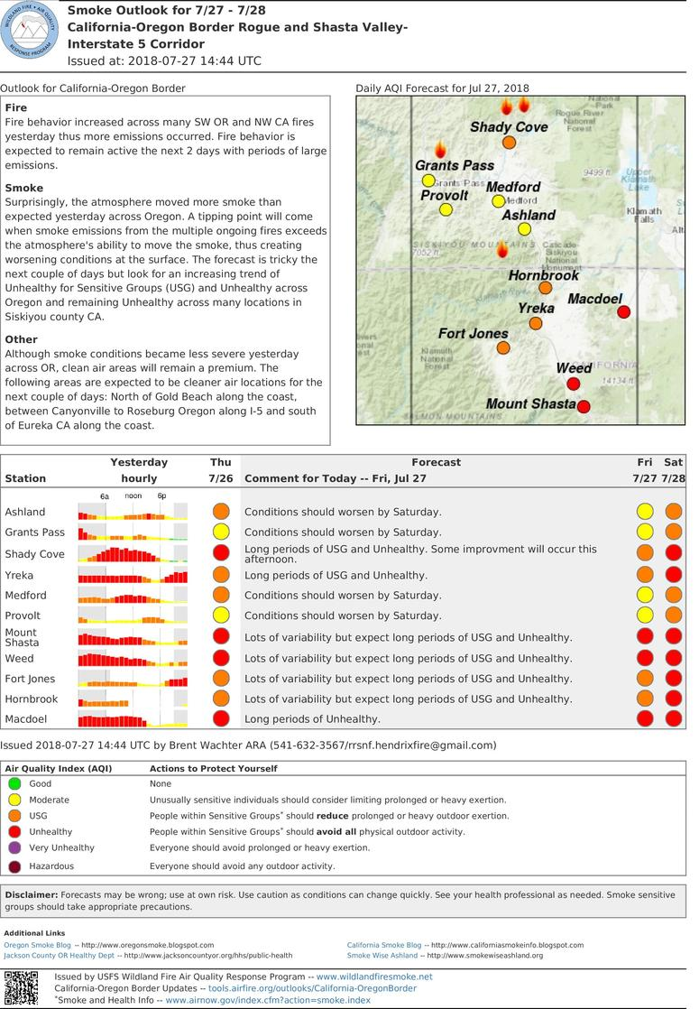 friday and saturday smoke outlook for rogue and shasta valleys i 5 corridor